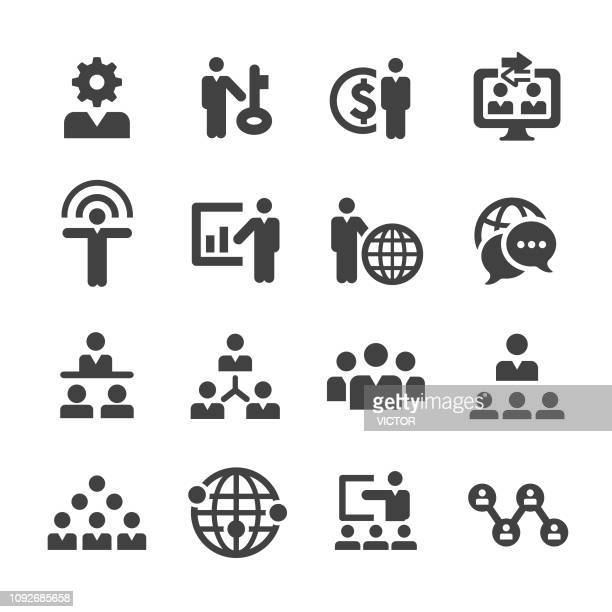 business network icons set - acme series - awards ceremony stock illustrations