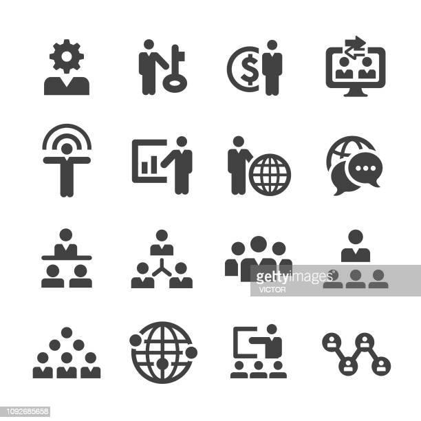 bildbanksillustrationer, clip art samt tecknat material och ikoner med business network ikoner set - acme-serien - prisutdelning