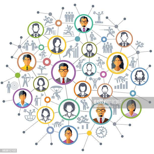 business network - corporate hierarchy stock illustrations, clip art, cartoons, & icons