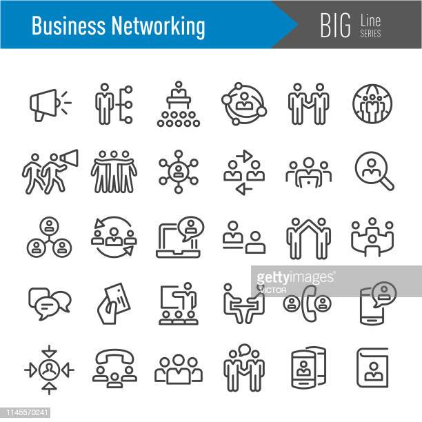 business networking icons - big line series - pbs stock illustrations