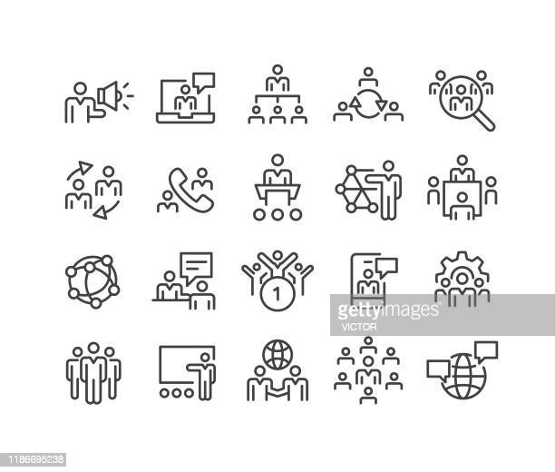 business networking icons - classic line series - tradeshow stock illustrations