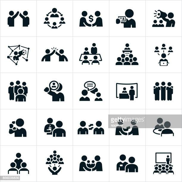 business networking icons - partnership teamwork stock illustrations