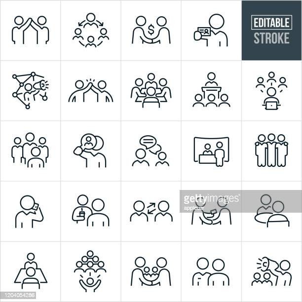 business networking thin line icons - editable stroke - talking stock illustrations