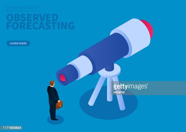 illustrazioni stock, clip art, cartoni animati e icone di tendenza di osservazione e previsione aziendale - previsione