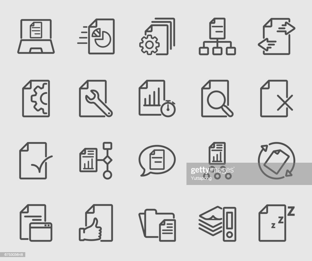 Business of document flow line icon