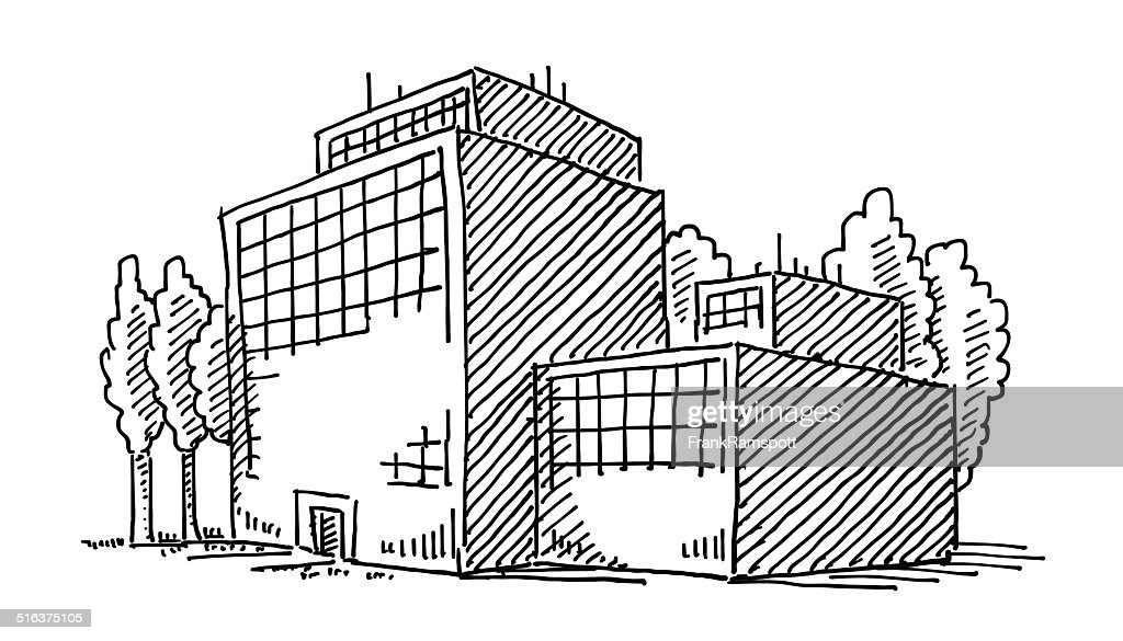 Business Office Building Drawing Vector Art Getty Images