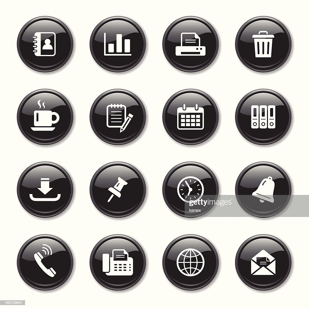 Business & Office Glossy Icons Set