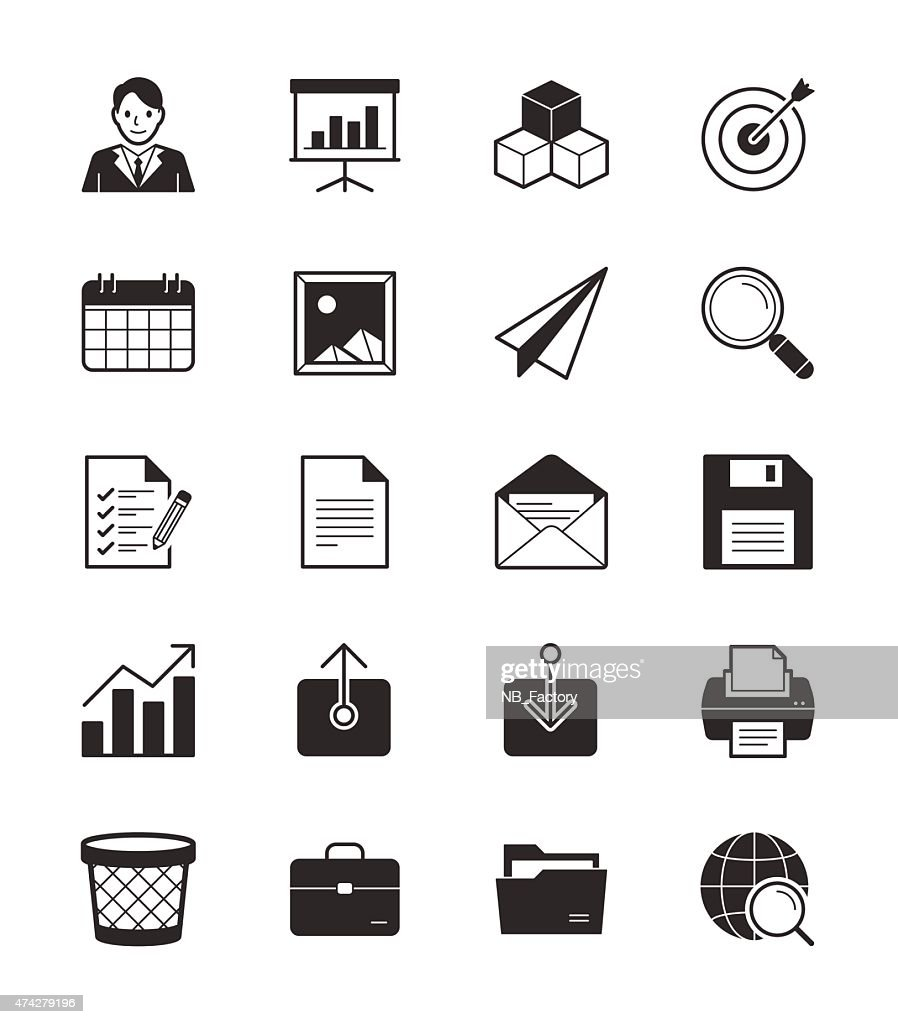 Business & Office icon set 1 on White Background Vector Illustration