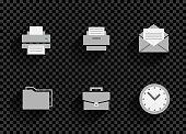 business office icon set transparent