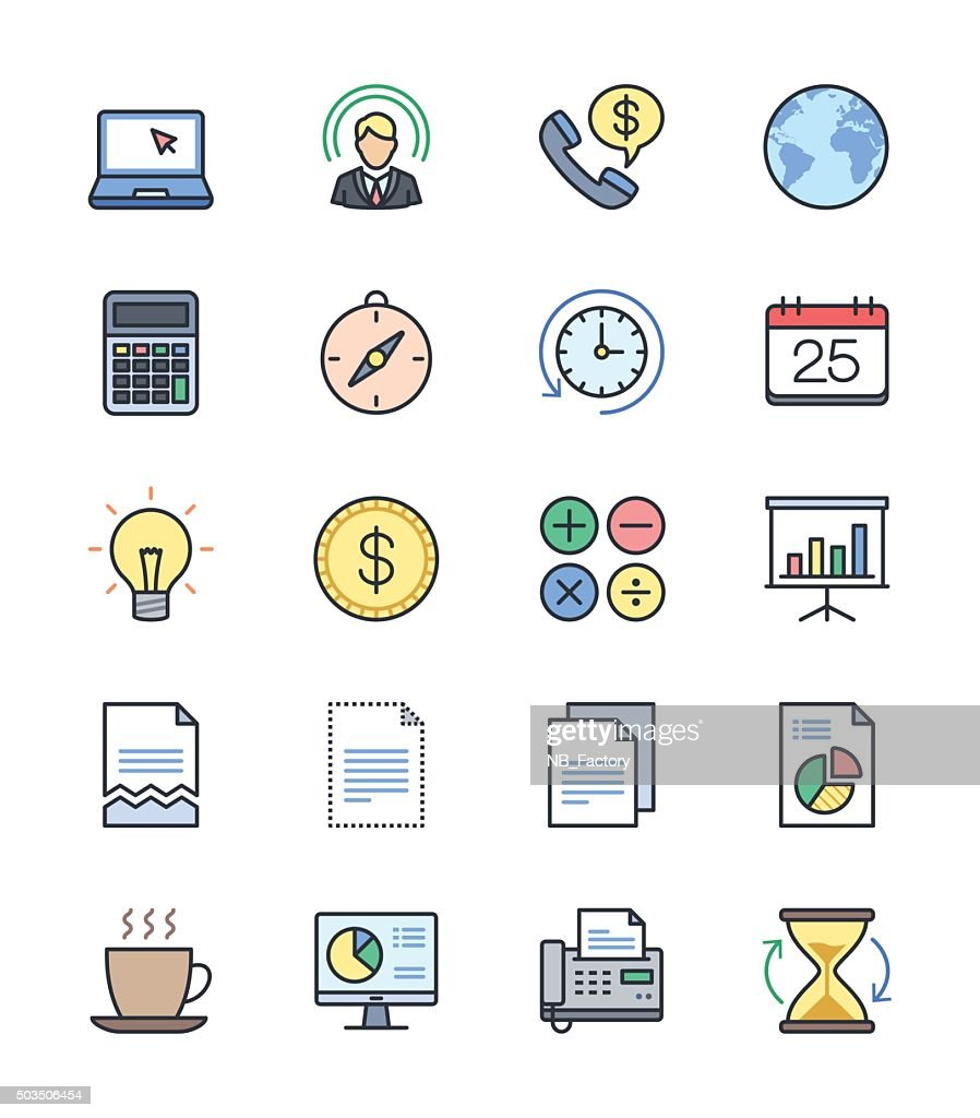 Business & Office icons, Color set 2 - Vector Illustration