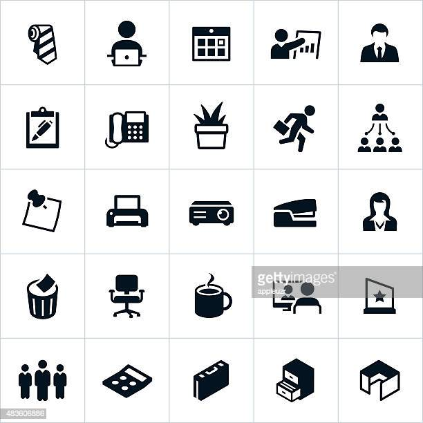 business office icons - post it stock illustrations, clip art, cartoons, & icons