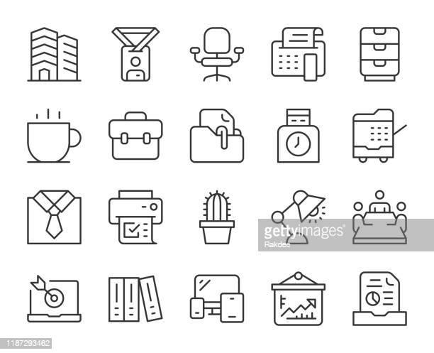 事業所 - ライトラインアイコン - ファイルトレイ点のイラスト素材/クリップアート素材/マンガ素材/アイコン素材