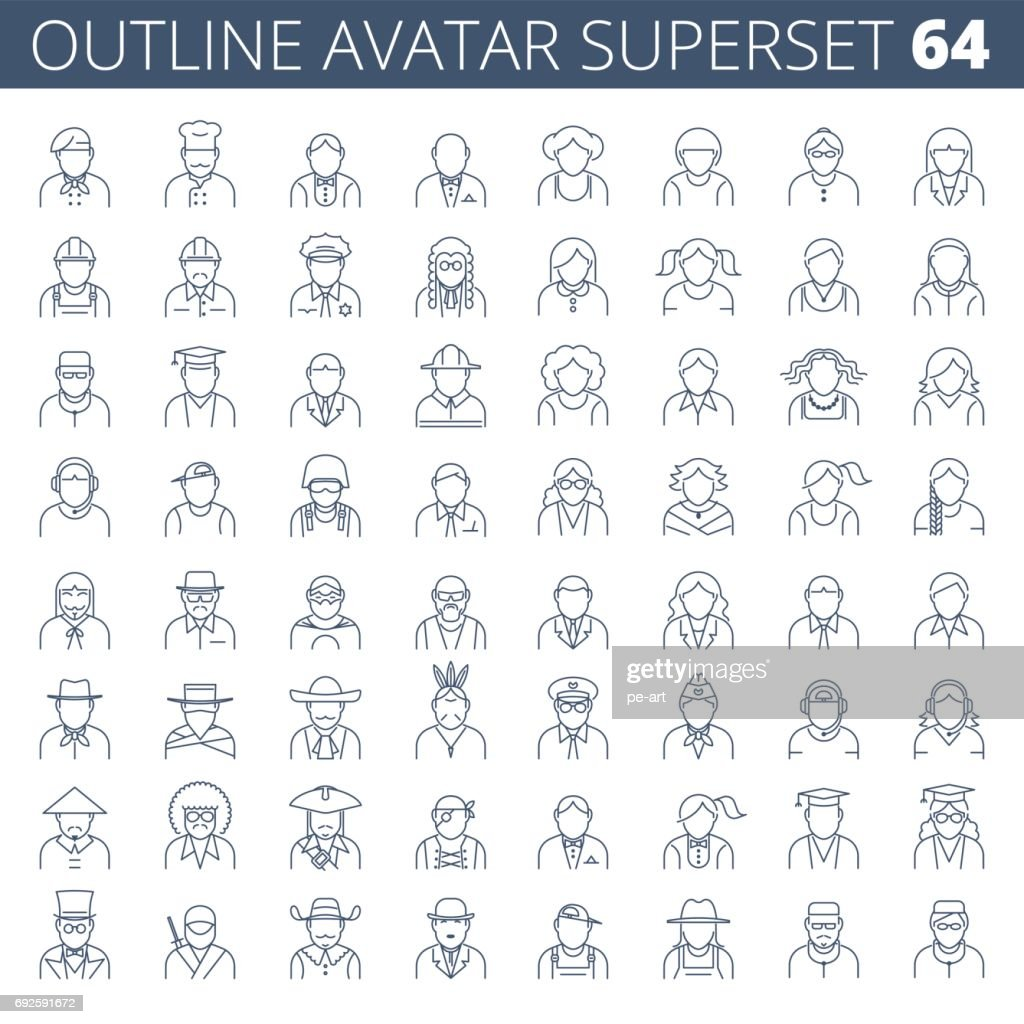 Business, office, profession and occupation vector line avatar set.