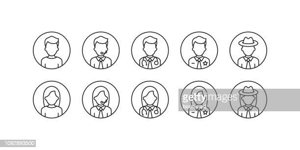 stockillustraties, clipart, cartoons en iconen met business office beroep avatar overzicht pictogrammen. - hoofd