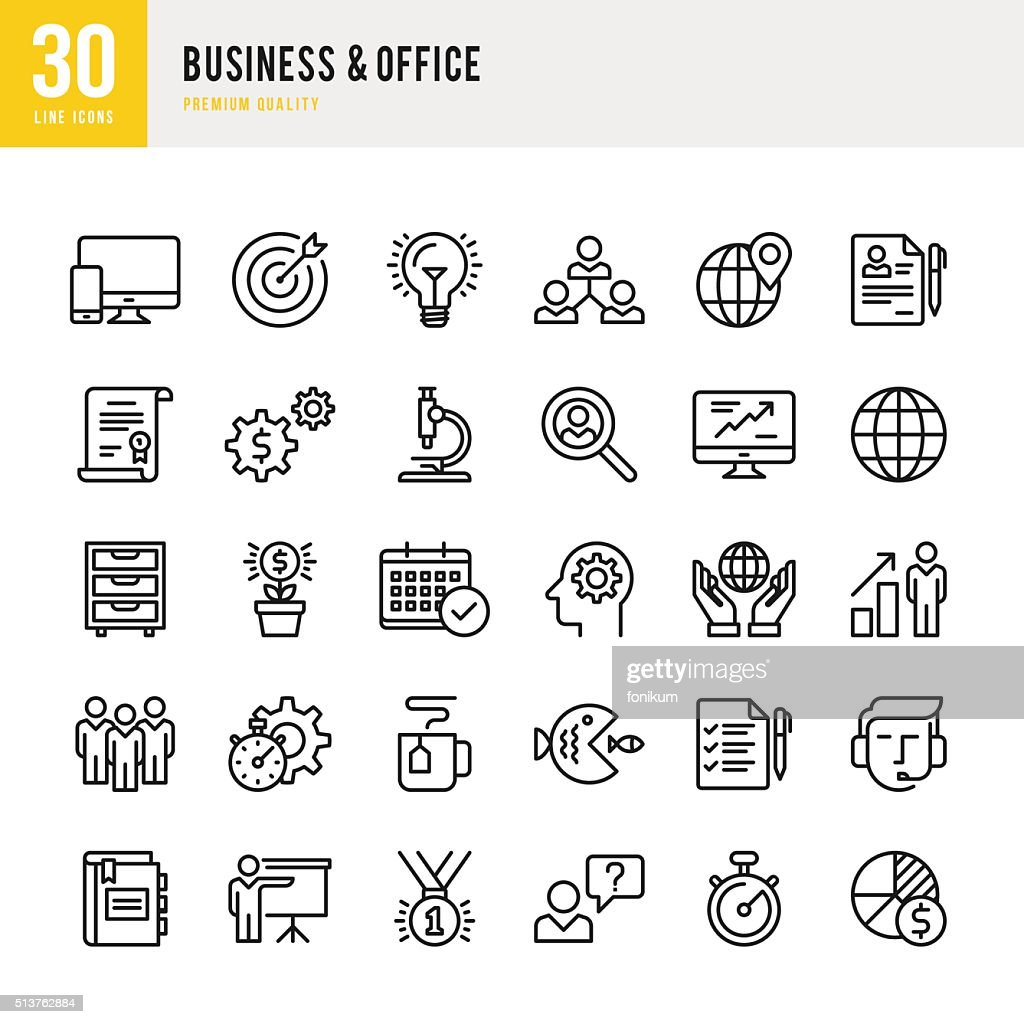 Business & Office - Thin Line Icon Set : Stock Illustration