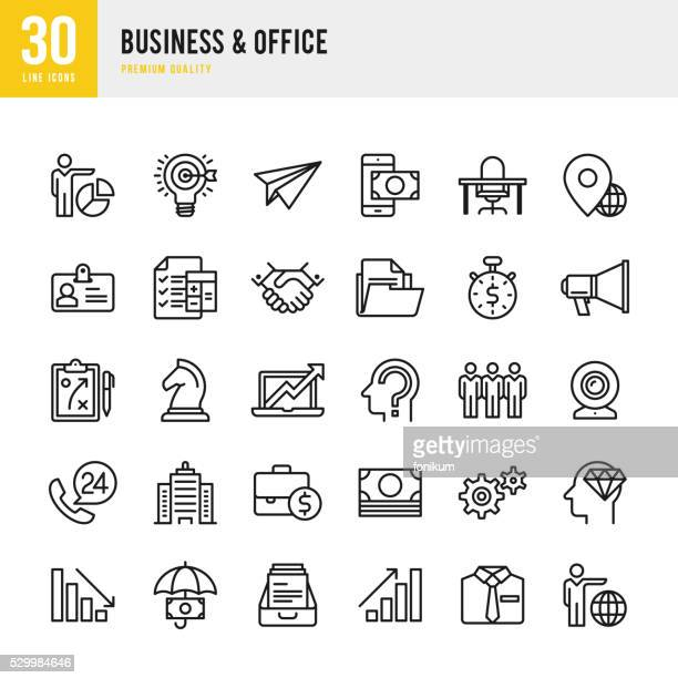 business & office - thin line icon set - dressing up stock illustrations