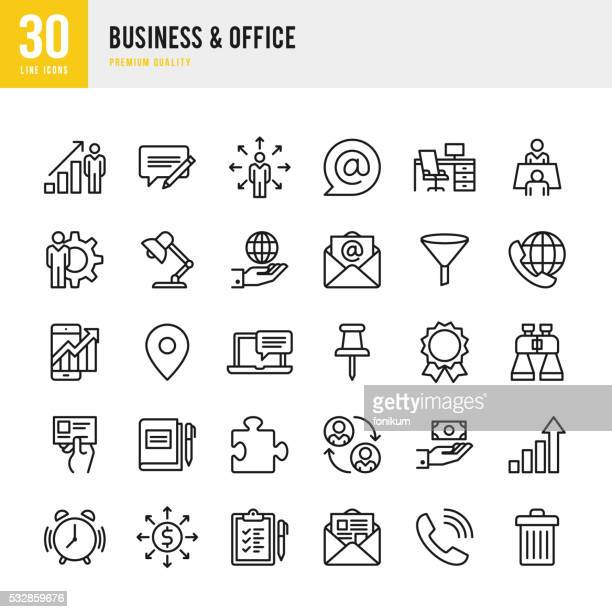 business & office - thin line icon set - list stock illustrations, clip art, cartoons, & icons