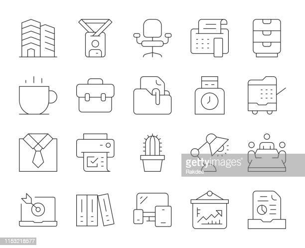 business office - thin line icons - photocopier stock illustrations, clip art, cartoons, & icons