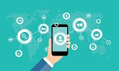 business online marketing on mobile concept