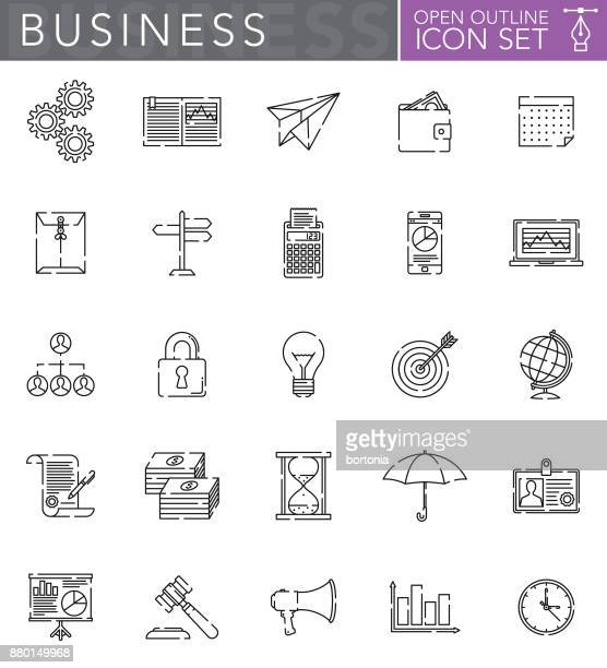 business open outline icon set in flat design style - accounting ledger stock illustrations, clip art, cartoons, & icons