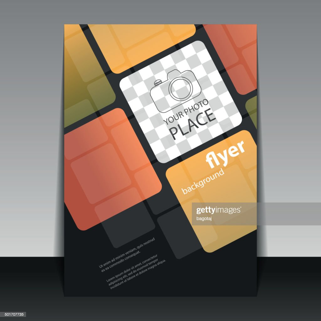 Business or Corporate Flyer Template with Squares Pattern