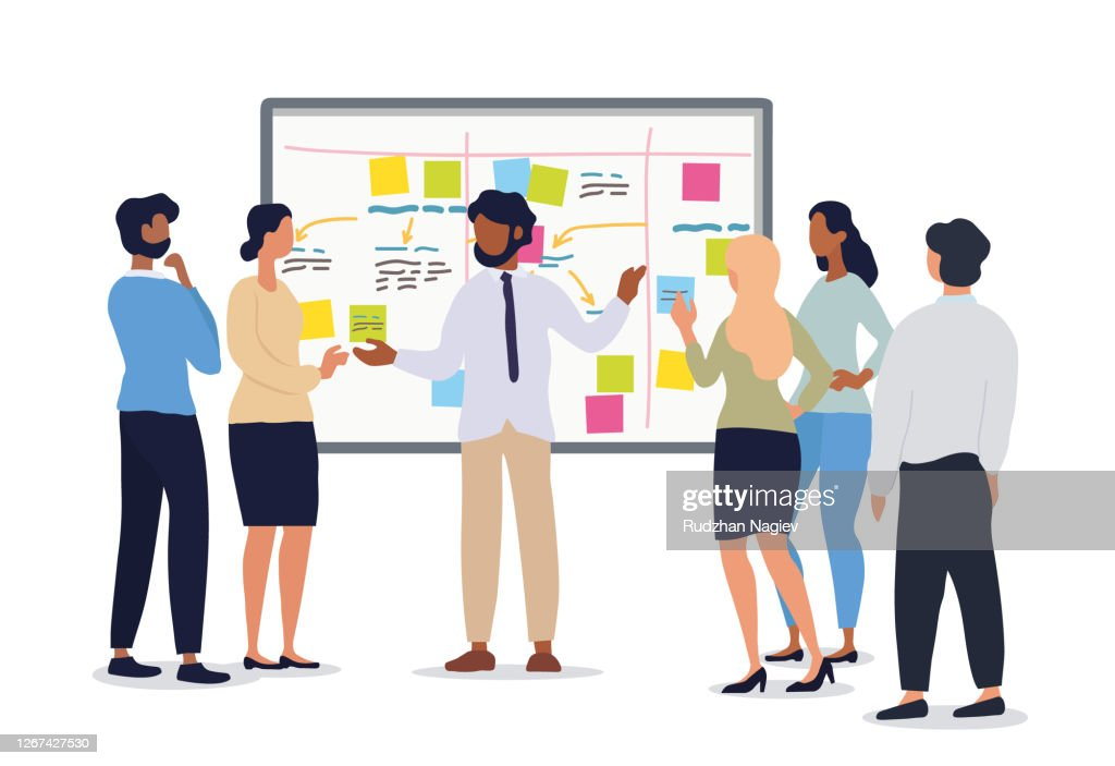 Business or team leader holding a meeting : stock illustration