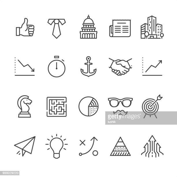 illustrazioni stock, clip art, cartoni animati e icone di tendenza di business - outline style icons - intrico