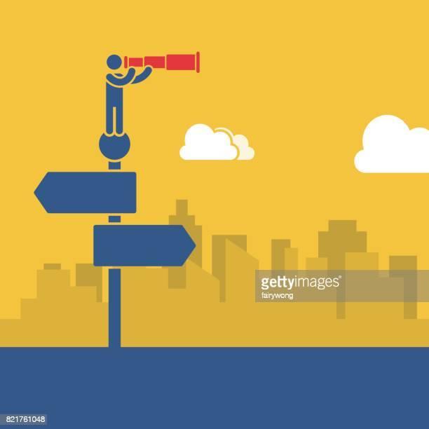 ilustrações, clipart, desenhos animados e ícones de conceito de negócio do outlook - encruzilhada