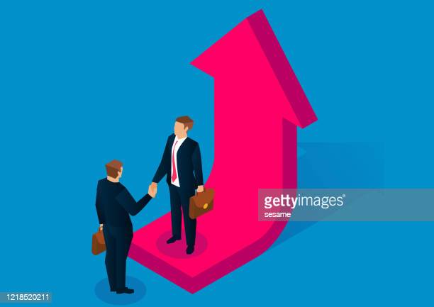 business, partners, success, business, two people standing on the growing arrow and shaking hands - merging stock illustrations