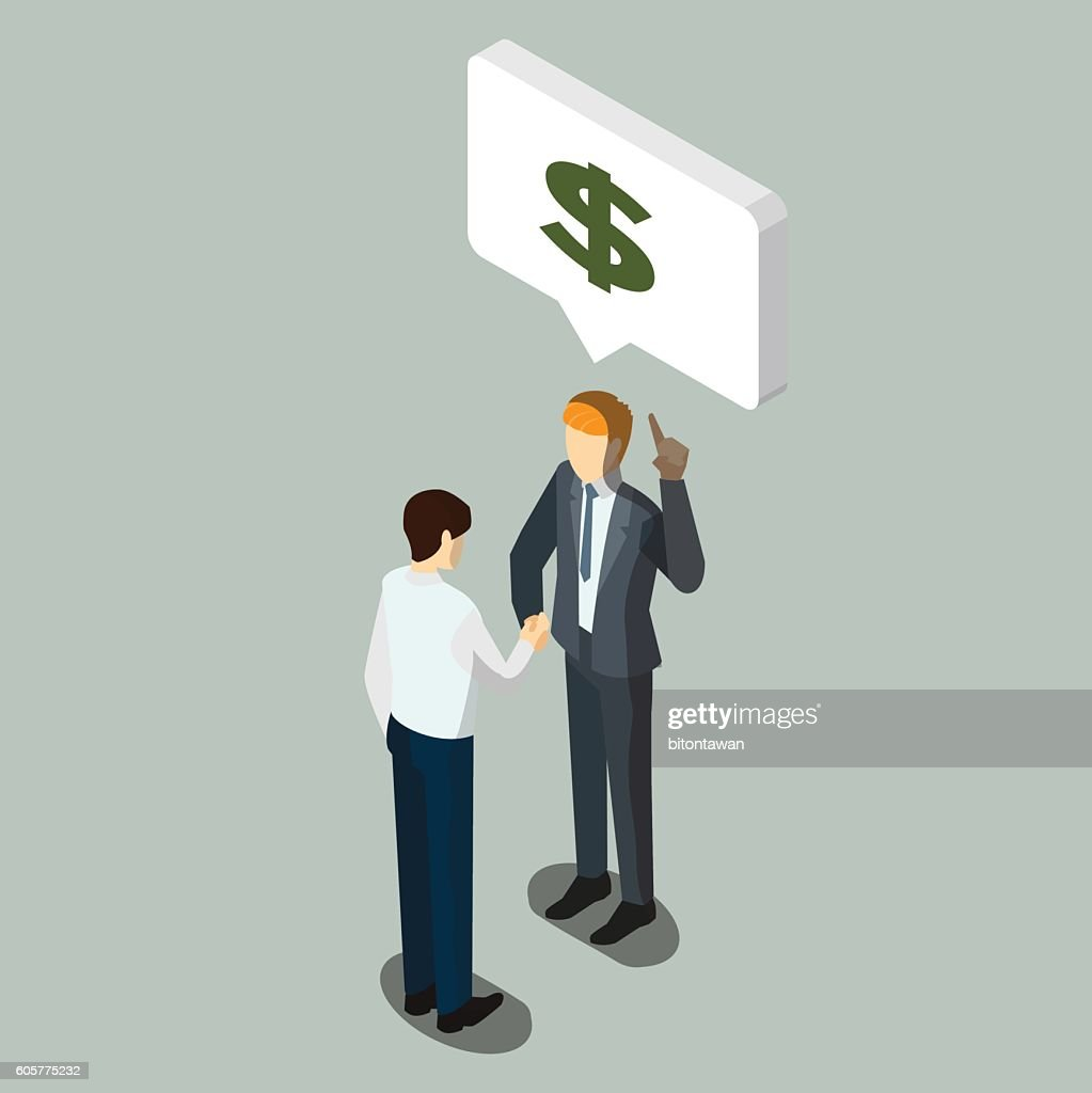 Business partnership or Businessmen Discussion, isometric busine