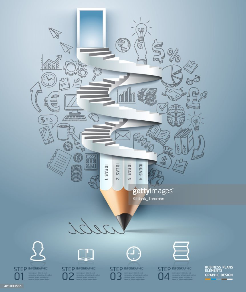 Business pencil staircase Infographics option.