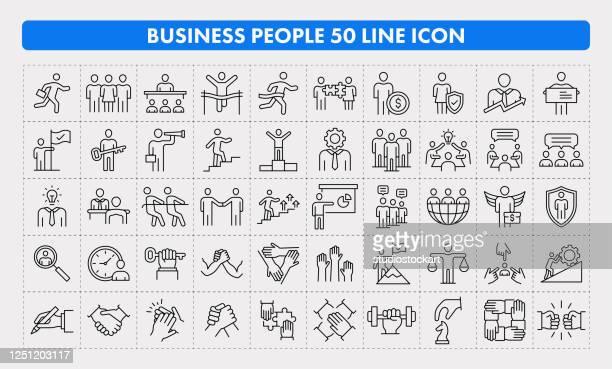 illustrations, cliparts, dessins animés et icônes de icône business people 50 line - costume habillé