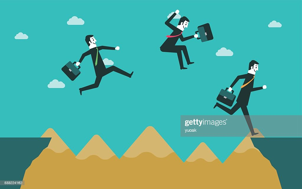 Business people across the cliff : stock illustration