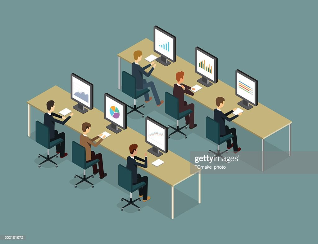 business people analytic on monitor graph report and business report