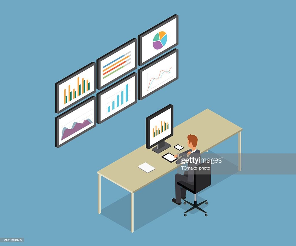 business people analytic on monitor graph report.business research