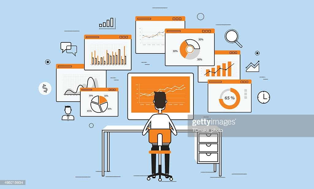 business people analytics business graph on monitor concept