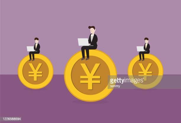 ビジネスマンは円硬貨に取り組んでいます - 中国元記号点のイラスト素材/クリップアート素材/マンガ素材/アイコン素材