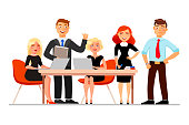 Business people at the meeting isolated on white background. Vector illustration in cartoon flat style.