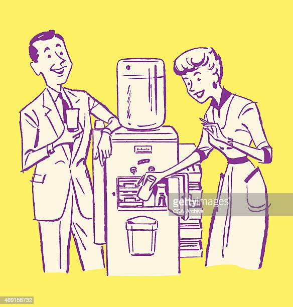 business people at water cooler - water cooler stock illustrations
