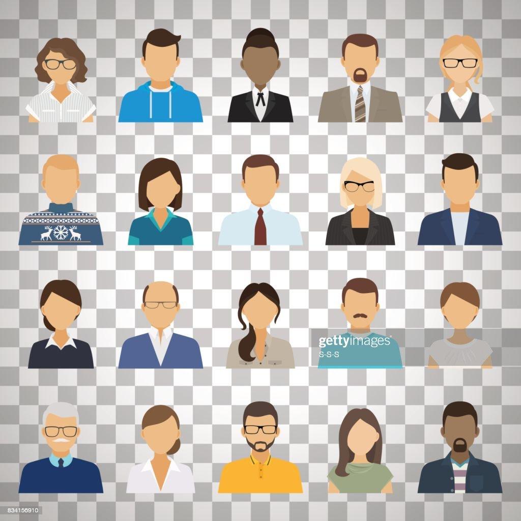 Business people avatars on transparent background