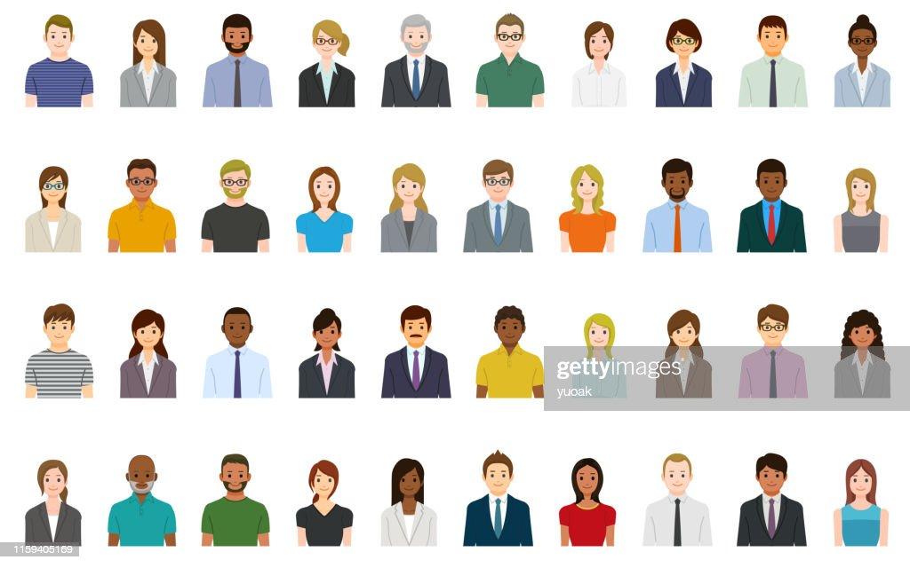 Conjunto de avatares para personas de negocios : Ilustración de stock