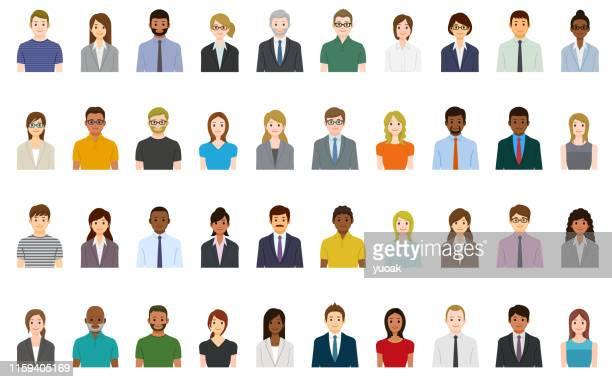 business people avatars set - human face stock illustrations