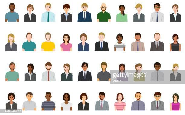 ilustrações de stock, clip art, desenhos animados e ícones de business people avatars set - cidadania
