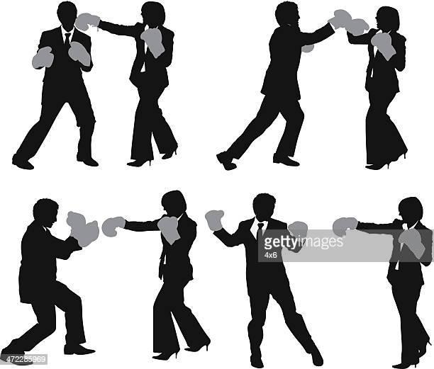 ビジネス人々ボクシング - 対決点のイラスト素材/クリップアート素材/マンガ素材/アイコン素材