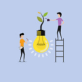 Business people cartoon character & Concept of Growing company with tree light bulb symbol.Businessmen & teamwork.Business industrial creative logotype concept.Business & industrial concept.Vector illustration
