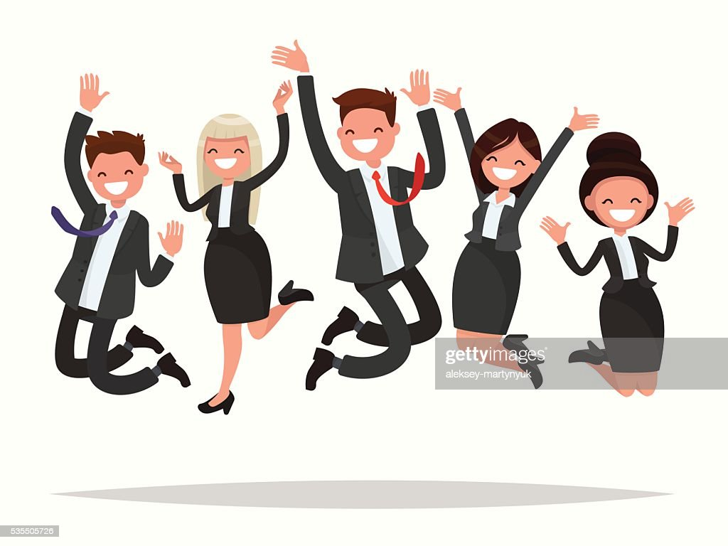 Business people celebrating a victory jump on a white background