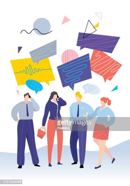 illustrazioni stock, clip art, cartoni animati e icone di tendenza di business people chatting - stare in piedi