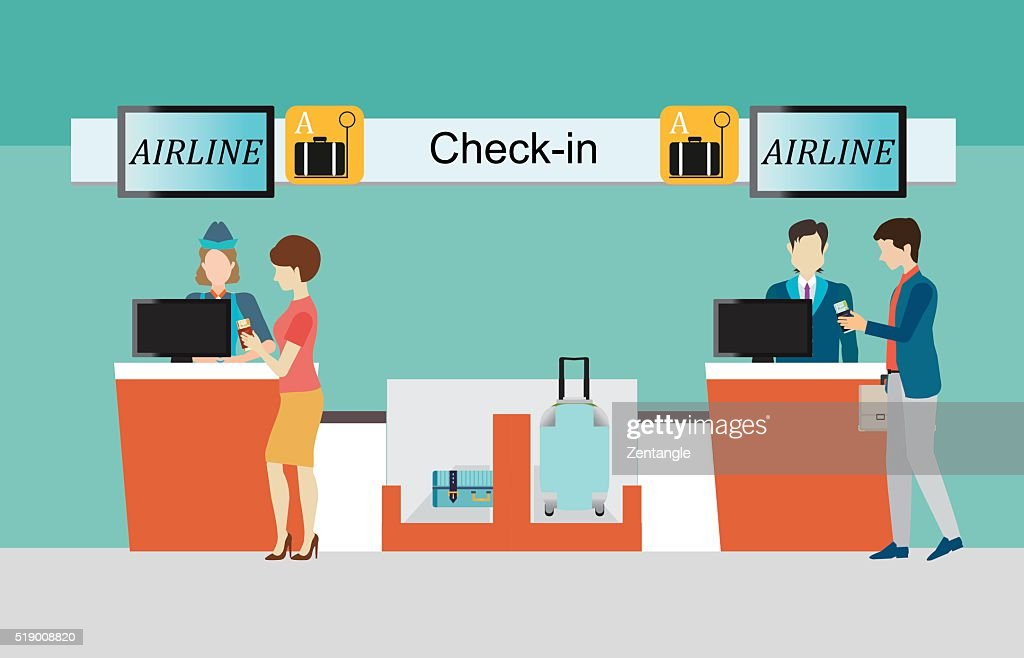 Business people checking in counter airplane.
