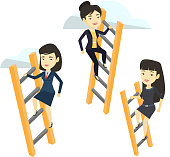 Business people climbing to success