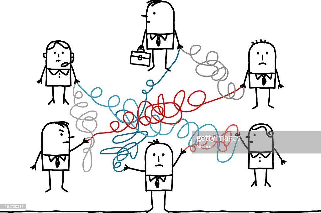 business people connected with tangled lines